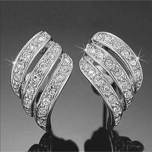 ANGEL'S WINGS Rhinestone White Gold18-K Earrings